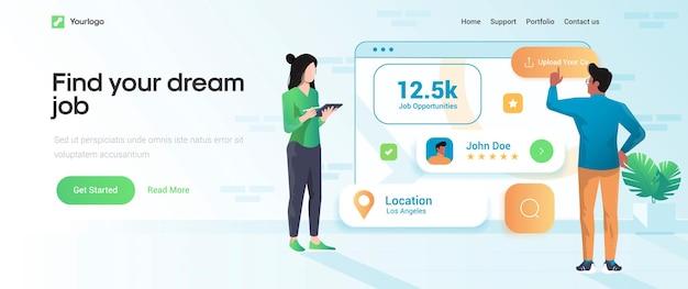 Modelo de página de destino de encontre o emprego dos seus sonhos