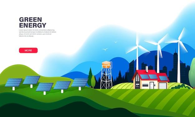 Modelo de página de destino de energia alternativa com painéis solares e turbinas eólicas.