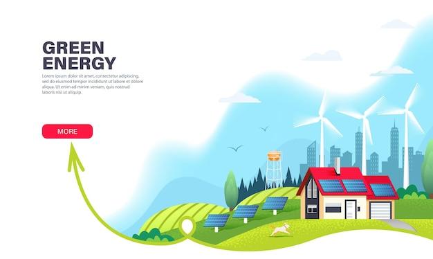 Modelo de página de destino de energia alternativa com painéis solares e turbinas eólicas