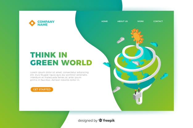Modelo de página de destino de energia limpa
