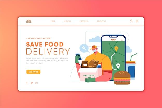 Modelo de página de destino de entrega de comida