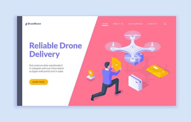 Modelo de página de destino de entrega de drone confiável