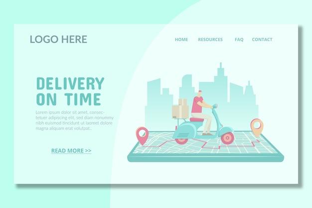 Modelo de página de destino de entrega no prazo