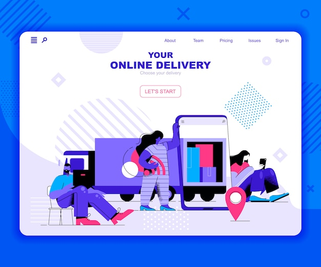 Modelo de página de destino de entrega on-line