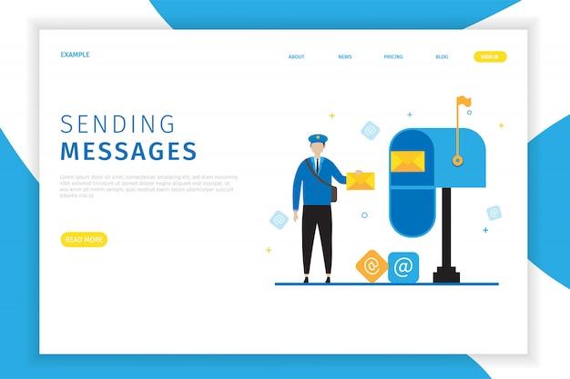 Modelo de página de destino de entregador com caixa de correio