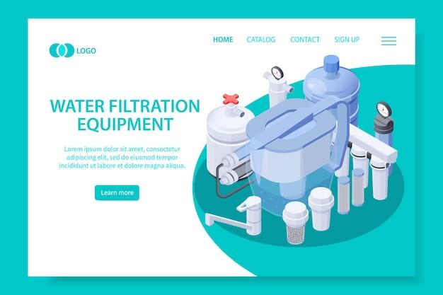 Modelo de página de destino de equipamento de filtração de água isométrica