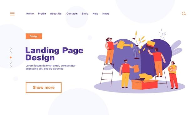 Modelo de página de destino de equipe estilizada de voluntários cuidando e compartilhando esperança