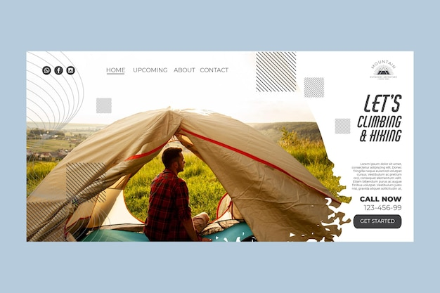 Modelo de página de destino de escalada com foto