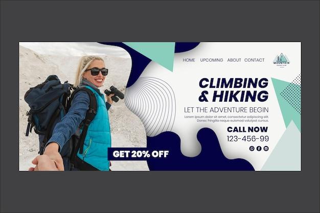 Modelo de página de destino de escalada e caminhada