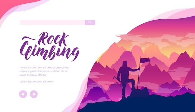 Modelo de página de destino de escalada em rocha. esportes radicais, layout de banner da web de atividades com espaço de texto.