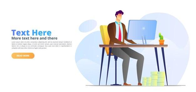 Modelo de página de destino de escritório de homem ilustrado de conceito