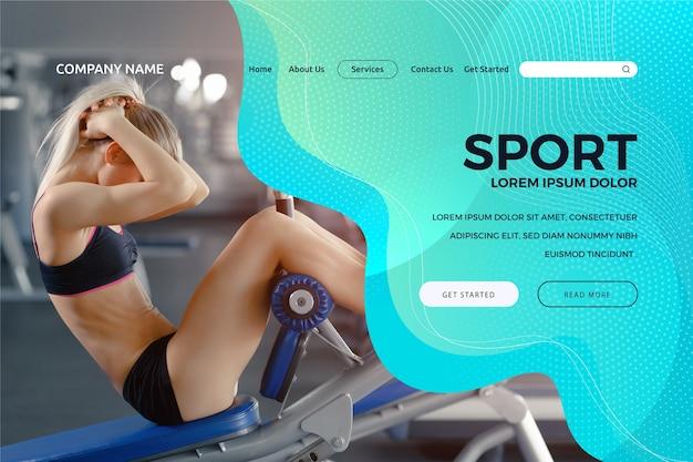 Modelo de página de destino de esporte com foto