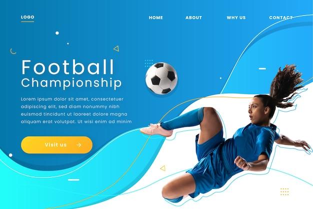 Modelo de página de destino de esporte com imagem