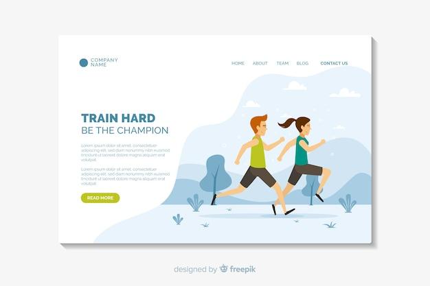 Modelo de página de destino de esporte de design plano