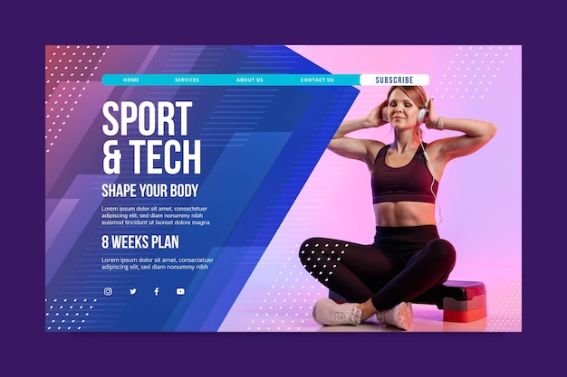 Modelo de página de destino de esporte e tecnologia