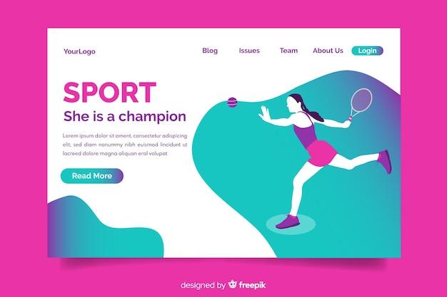 Modelo de página de destino de esporte gradiente