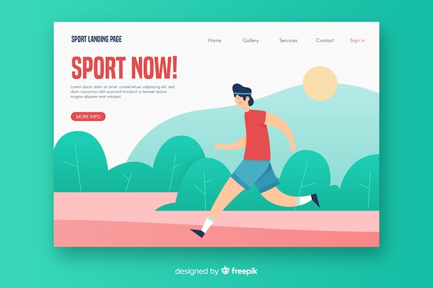 Modelo de página de destino de esporte plana