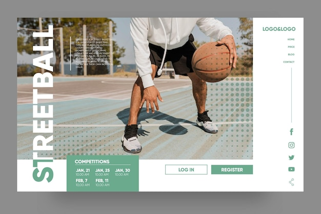 Modelo de página de destino de esporte