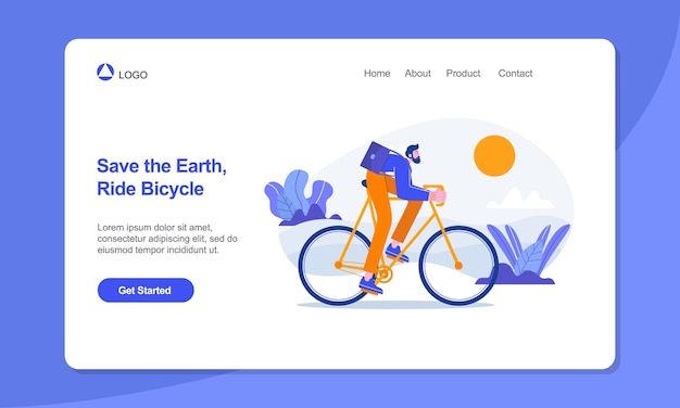 Modelo de página de destino de estilo de vida saudável passeio de empresário na página de destino de bicicleta