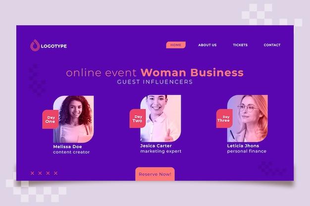Modelo de página de destino de evento online para empresária