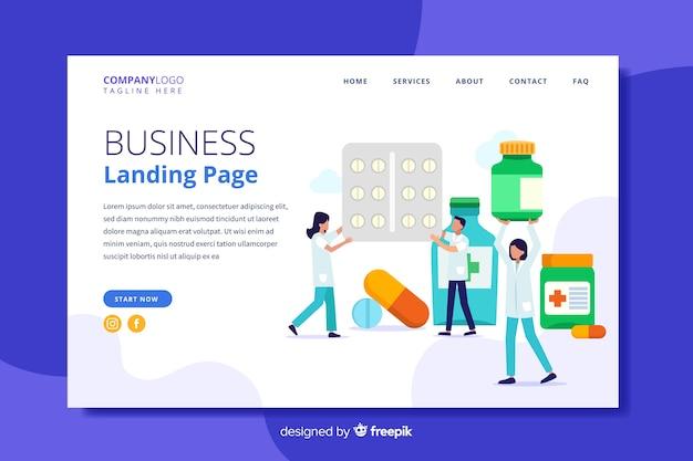 Modelo de página de destino de farmácia plana