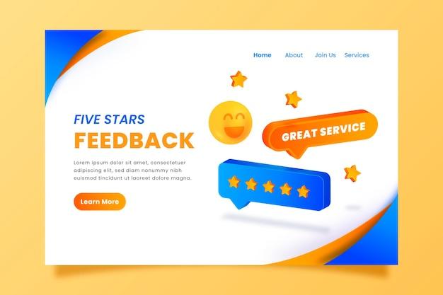 Modelo de página de destino de feedback 3d