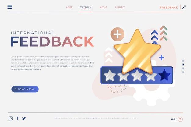 Modelo de página de destino de feedback gradiente