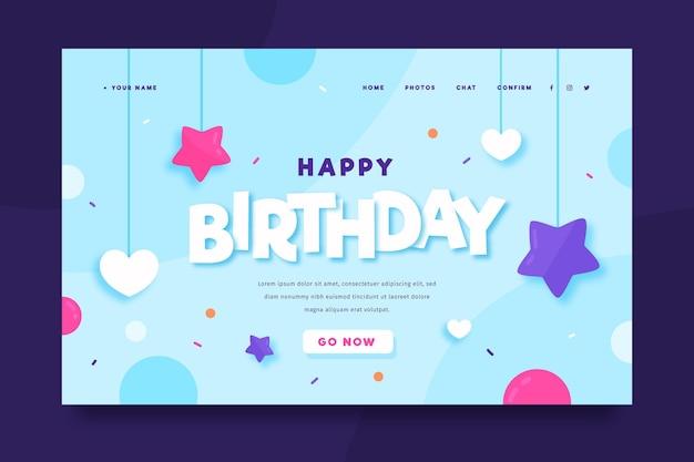 Modelo de página de destino de feliz aniversário