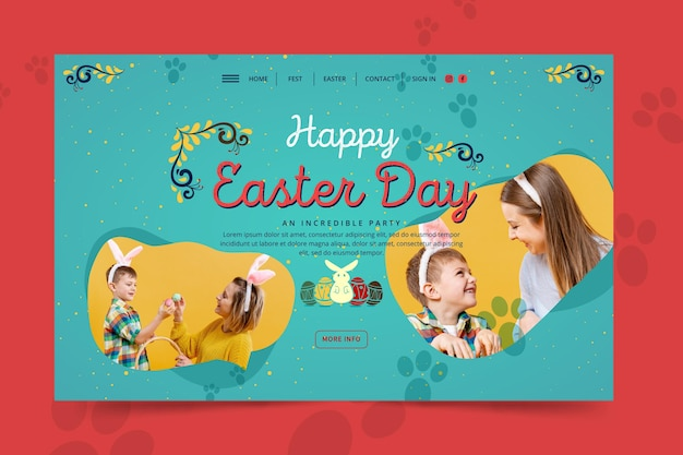 Modelo de página de destino de feliz dia de páscoa