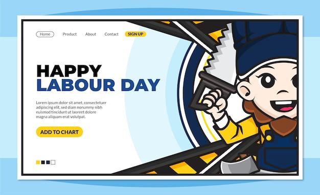 Modelo de página de destino de feliz dia do trabalho com personagem de desenho animado bonito de trabalhadores
