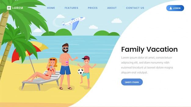 Modelo de página de destino de férias em família