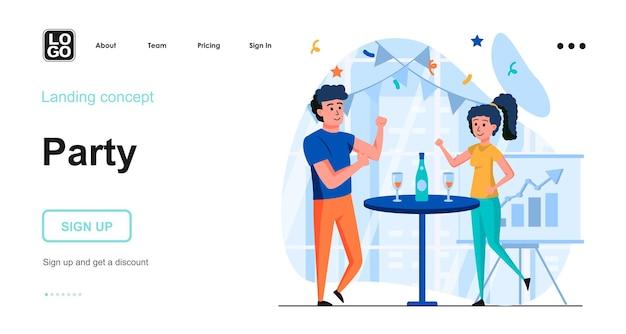 Modelo de página de destino de festa corporativa