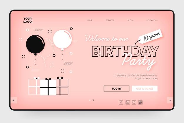 Modelo de página de destino de festa de aniversário com ilustrações