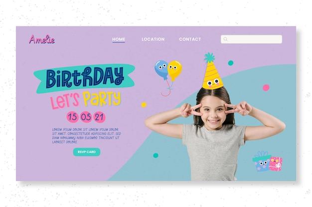 Modelo de página de destino de festa de aniversário infantil