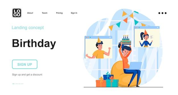 Modelo de página de destino de festa de aniversário online com caráter de pessoas