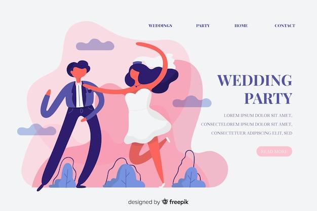 Modelo de página de destino de festa de casamento