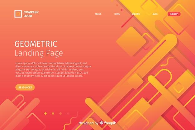 Modelo de página de destino de formas de gradiente geométrico