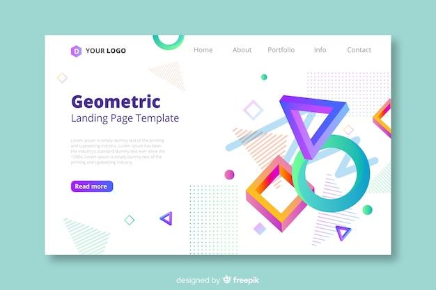 Modelo de página de destino de formas geométricas 3d