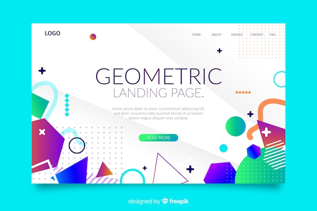 Modelo de página de destino de formas geométricas coloridas