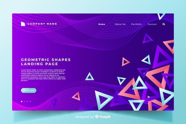 Modelo de página de destino de formas geométricas