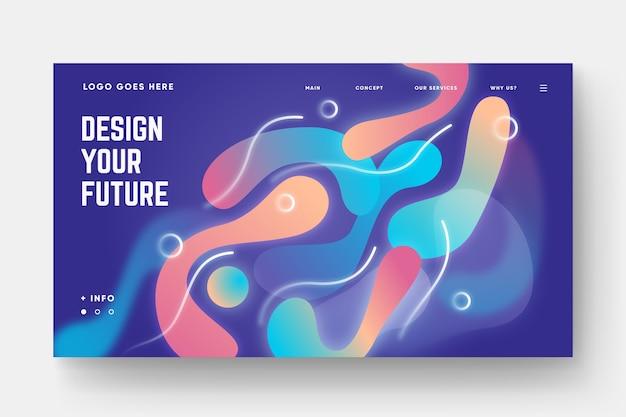 Modelo de página de destino de formas gradientes