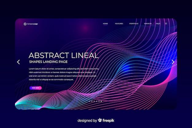 Modelo de página de destino de formas lineares