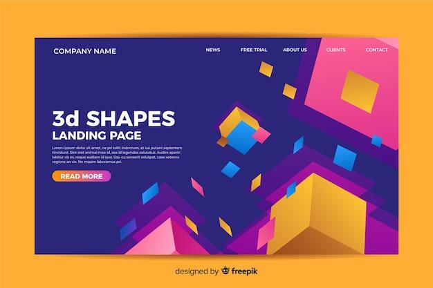 Modelo de página de destino de formas tridimensionais