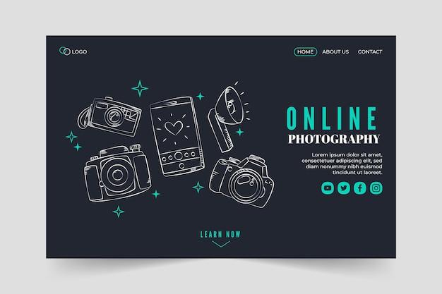 Modelo de página de destino de fotografia online