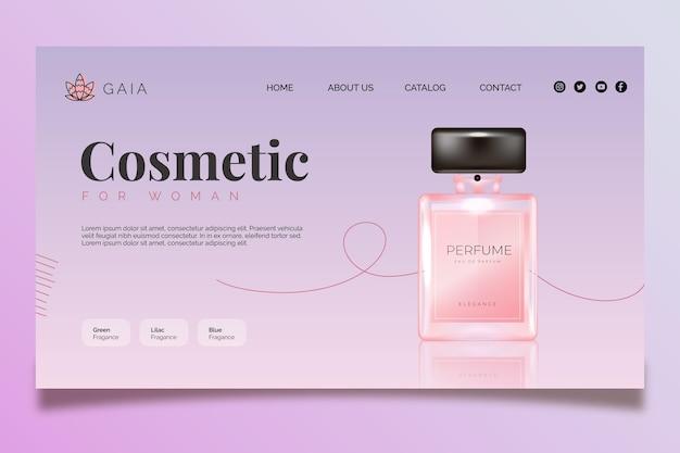 Modelo de página de destino de frasco cosmético