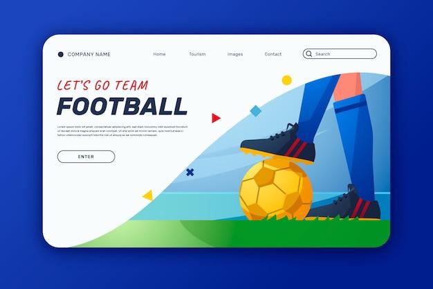 Modelo de página de destino de futebol sul-americano gradiente