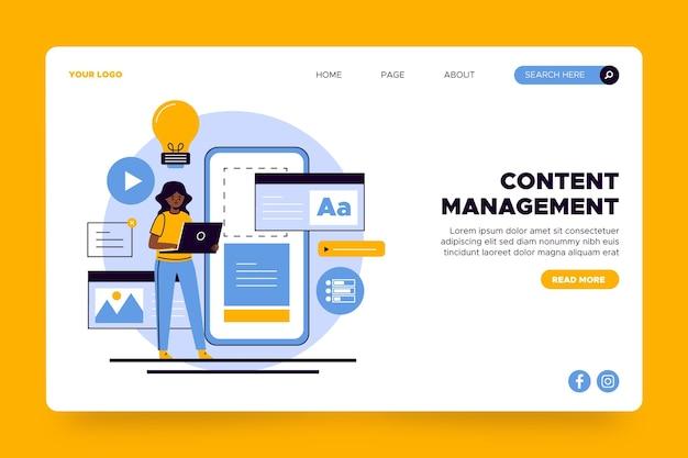 Modelo de página de destino de gerenciamento de conteúdo