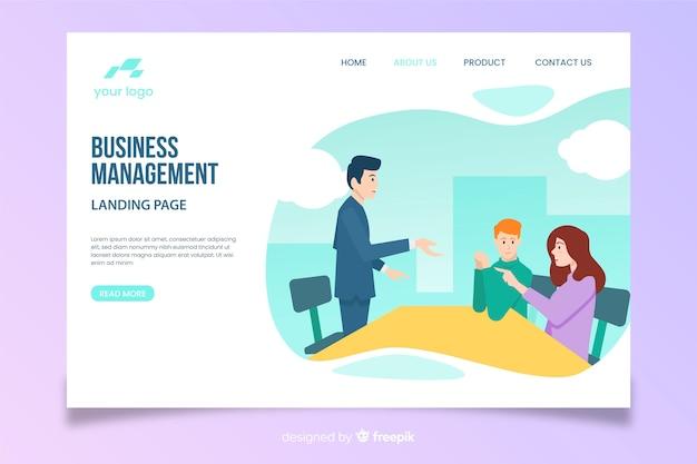 Modelo de página de destino de gerenciamento de negócios