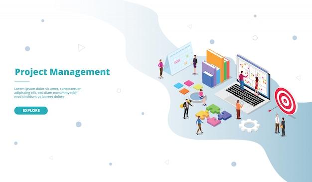 Modelo de página de destino de gerenciamento de projetos em estilo isométrico
