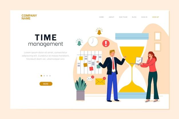 Modelo de página de destino de gerenciamento de tempo desenhado à mão plana